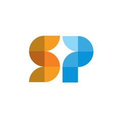 letter sp geometric color logo vector image