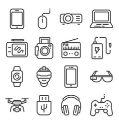 line devices and gadgets icons set vector image