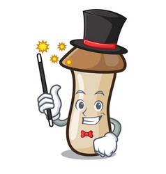 Magician pleurotus erynggi mushroom mascot cartoon vector