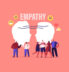 Male and female characters show empathy emotional vector