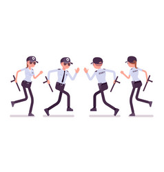 male and female security guard running vector image