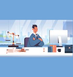 male lawyer sitting at workplace legal law advice vector image