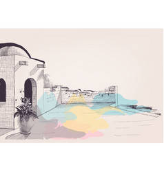 mediterranean house terrace on beach sketch vector image