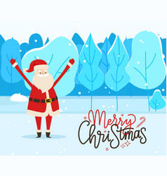 merry christmas greeting postcard with santa claus vector image