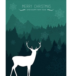 Merry christmas happy new year deer holiday card vector image