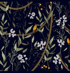 modern floral design hand drawn chains botanical vector image
