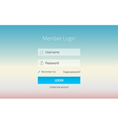 Modern member login website form with tranparent vector