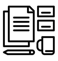 office set tool icon outline style vector image
