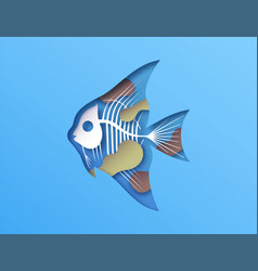 Papercut fish x ray skeleton toxic water pollution vector
