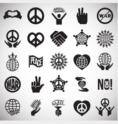 Peace icons set on white background for graphic vector