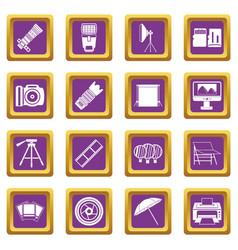 photo studio icons set purple vector image