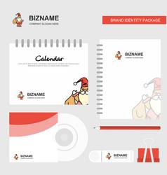 santa clause logo calendar template cd cover vector image