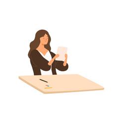 satisfied teenage girl holding paper vector image