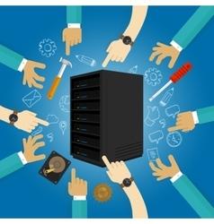 Server maintenance fixing hardware troubleshooting vector