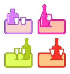 Set alcohol bottles with glasses on colorful tray vector
