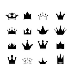 set black sign crown design modern logos king vector image