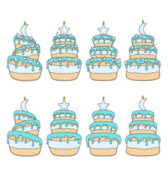 set color cakes with stars moon vector image