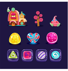 Set colorful mobile game assets glossy vector