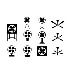 Set electric fan icon in silhouette style vector