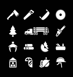 Set icons of sawmill timber and lumber vector