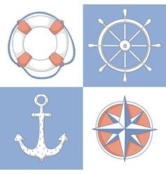 set nautical symbols vector image
