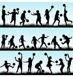 Set of children playing with balls outdoor vector image