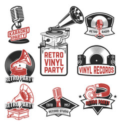 Set of retro party emblems design elements for vector