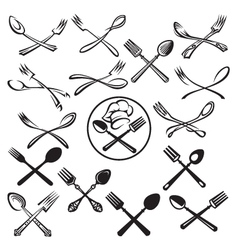 set of spoon and fork vector image