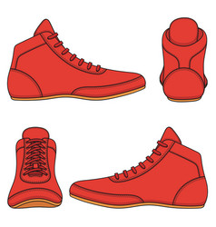 Set with red wrestling shoes vector