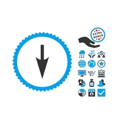 Sharp Down Arrow Flat Icon With Bonus vector image