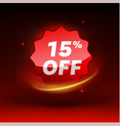Shiny 15 percent off discount promotion badge vector
