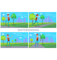 skateboarding banner colorful vector image