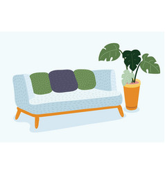 sofa on a wooden frame for modern living room vector image