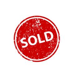 Sold sign sticker stamp texture vector
