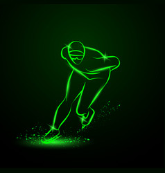 Speed skater neon winter sport vector