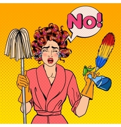 Stressed Housewife with Mop Pop Art vector