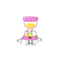 Surprised icon sandglass in cartoon character vector