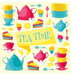 Tea time card vector