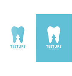 tooth and arrow up logo combination dental vector image