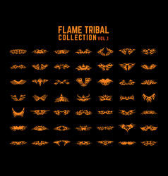 Tribal flames collection set vector