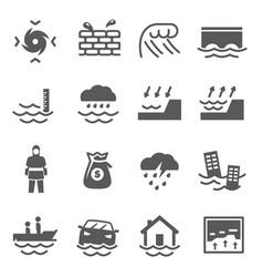 tsunami inundation bold black silhouette icon vector image