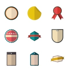 Types tag icons set flat style vector