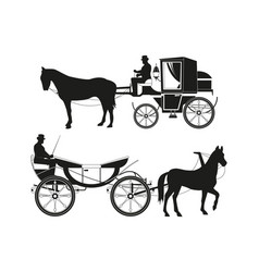 vintage carriages with horses pictures vector image