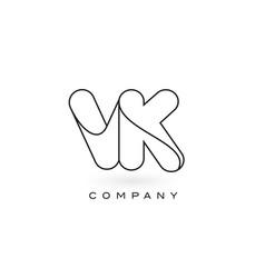vk monogram letter logo with thin black monogram vector image