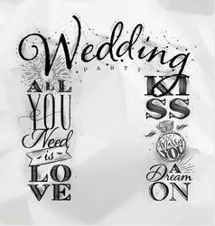 wedding arch backdrop kiss vector image