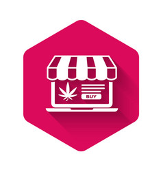 white laptop and medical marijuana or cannabis vector image
