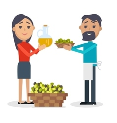 Woman with Bottle of Olive Oil Man with Olives vector image