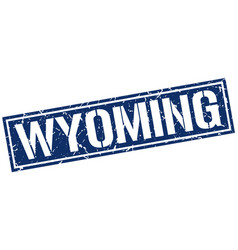 Wyoming blue square stamp vector