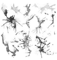 Black and White Water Color Splash Stains vector image