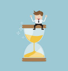 businessman sitting on hourglass business time vector image vector image